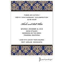 Medallion Damask Navy & Gold Invitation - Anniversary Invitation