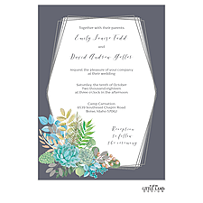 foil press invitation: Bright Succulents Foil-Pressed Invitation