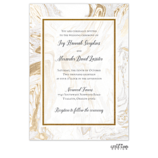 foil press invitation: Lustrous Marble Foil-Pressed Invitation