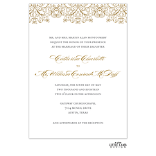 foil press invitation: Gilded Lace Foil-Pressed Invitation