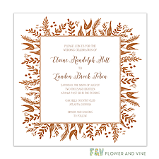 foil press invitation: Foil Foliage Invitation
