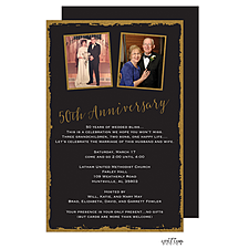 Anniversary Invitation: Foil Framed 50th Anniversary Invitation