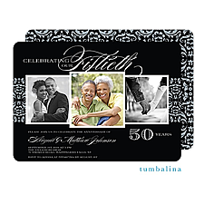 Anniversary Invitation: Anniversary Damask Photo Invitation