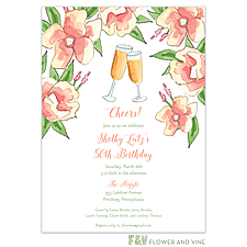 Anniversary Invitation: Champagne Florals Invitation