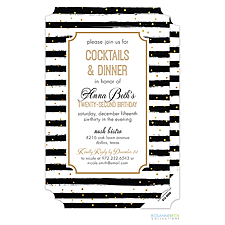 Anniversary Invitation: Black Stripes with Gold Dots Invitation