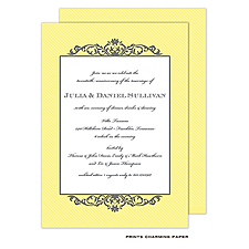 Anniversary Invitation: Grey Fleurish on Yellow Stripes Invitation