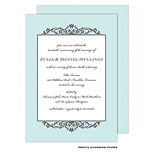 Anniversary Invitation: Grey Fleurish on Aqua Diagonal Stripes Invitation