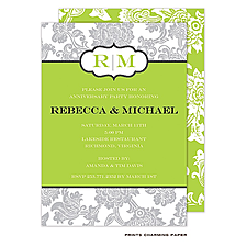 Anniversary Invitation: Grey Floral Pattern on White and Green Invitation
