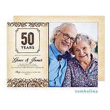 Anniversary Vintage Scrolls Beige Photo Invitation - Anniversary Invitation