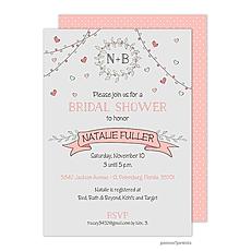 Wreath & Banner Light Grey & Coral Invitation -
