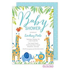 : Baby Safari (Blue) Invitation