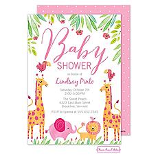 : Baby Safari (Pink) Invitation