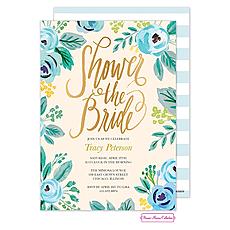 Watercolor Blue Blossoms Invitation -