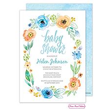 : Watercolor Blossom Wreath (Blue) Invitation