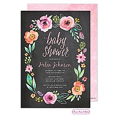 : Watercolor Blossom Wreath (Chalkboard) Invitation