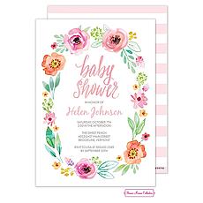 : Watercolor Blossom Wreath (Pink) Invitation
