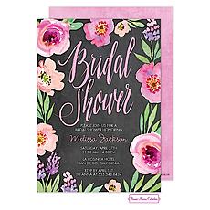Watercolor Bridal Shower (Chalkboard) Invitation -