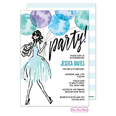 Whimsical Watercolor Balloons (Blue) Invitation -