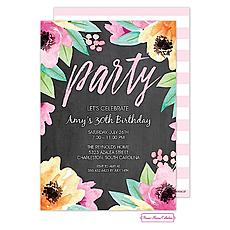 : Wonderful Watercolor Blossoms (Chalkboard) Invitation