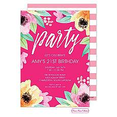 Wonderful Watercolor Blossoms (Pink) Invitation -