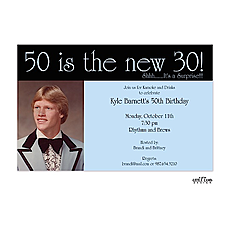 50 is the new 30! Photo Invitation - Blue/Black -