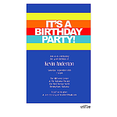 : Bright stripes birthday invitation