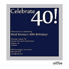 : Navy and silver birthday invitation