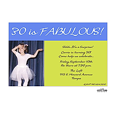 : 30 is Fabulous! Lime and Blue Photo Invitation