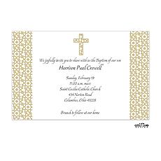 Elegant Beige Cross Invitation -