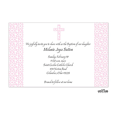 Elegant Pink Cross Invitation -