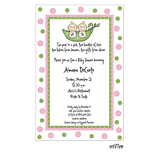 : Twin babies in a peapod invitation