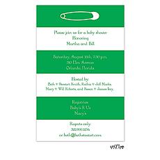 Bold Striped Diaper Pin Invitation -