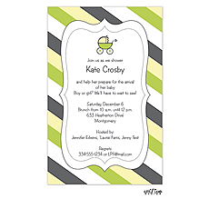 Cute Stripes and Carriage Baby Shower Invitation -
