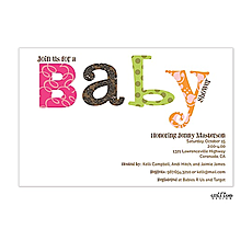 : Colorful Wordplay Baby Shower Invitation