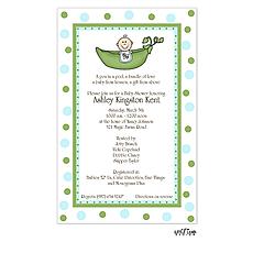 : One baby in a pea pod invitation