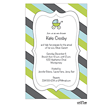 : Cute Stripes and Carriage Baby Shower Invitation
