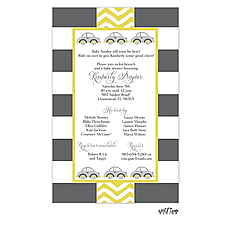 : Grey and Yellow Cars Shower Invitation