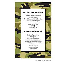 : Green Camo Invitation