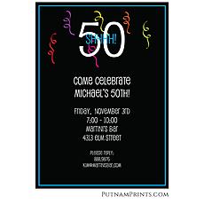 : Streamer Celebration Flat Invitation