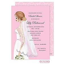 : Vintage Veil Pink (Brunette) Invitation