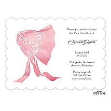 : Watercolor Monogrammed Bonnet Invitation