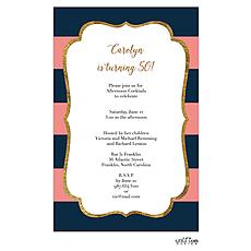: Glitter frame elegant stripes Invitation