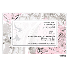 : Pink and Silver Marbled Invitation