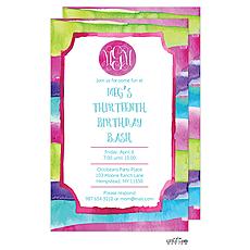 : Watercolor Stripes Invitation