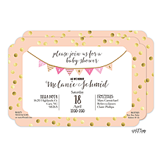 : Peach with Gold Dots Baby Shower Invitation