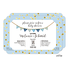 : Blue with Gold Dots Baby Shower Invitation