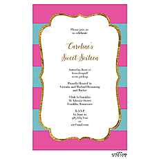 Glitter frame elegant stripes Invitation -