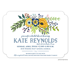 : Navy & Gold Bouquet White Invitation