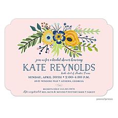 : Navy & Gold Bouquet Blush Invitation
