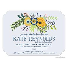 Navy & Gold Bouquet Light Purple Invitation -